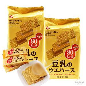 批发原装进口食品日本布尔本bourbon豆乳威化饼干118g*12袋/箱