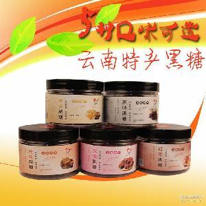 云南黑糖茶老姜玫瑰红枣桂花多种口味手工古法孕期红糖块200g罐装