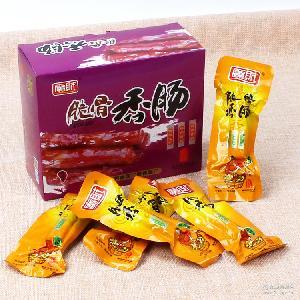 原味 烧烤味香肠 广财脆骨香肠16*20盒装零食火腿肠香辣味