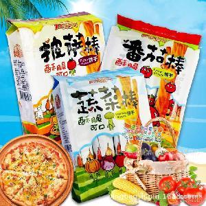 台湾进口零食漾漾屋蔬菜棒饼干192g/包 番茄味披萨味3种口味混批