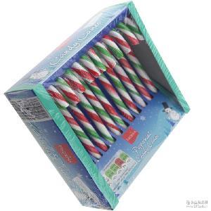 原装出口圣诞节拐杖糖儿童零食拐棍糖果棒棒糖红绿白条12支伞把糖