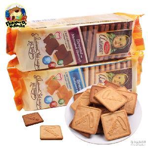 进口俄罗斯正品大头娃娃牛奶巧克力饼干早餐饼儿童零食品190g