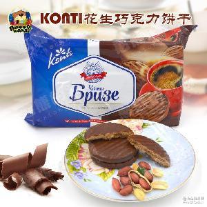 俄罗斯原装进口零食品康吉巧克力花生酥脆饼干办公室休闲小吃批发