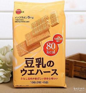 布尔本bourbon 豆乳威化饼干 整箱6包 日本进口零食 118g*16枚
