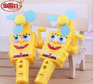 海绵宝宝手摇风扇玩具糖果创意风扇玩具糖批发儿童节休闲零食