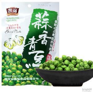 重庆特产休闲办公零食凯福80G重庆豌豆炒货蒜香青豆80袋/箱 包邮