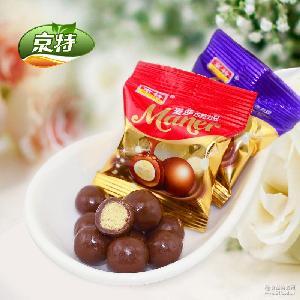 京特糖果巧克力豆麦丽素黑巧克力酥糖喜糖厂家直销5斤*4袋/箱