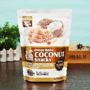 椰子日记 小零食 椰子味蛋卷 250g 泰国进口芝麻椰奶卷饼干