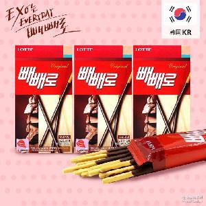 韩国进口 批发休闲零食品 32g-52/盒 乐天巧克力棒饼干 整箱40盒