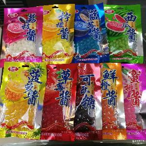 240袋装糖果批发水果酱夹心糖办公室优闲零食七彩凝胶软糖果味软