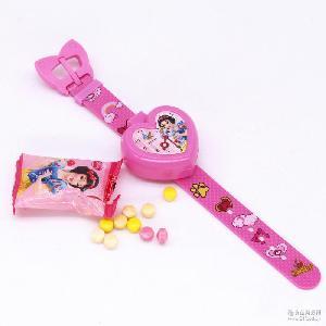 迪士尼手表糖心型手表玩具糖果 压片糖休闲零食8gX18个/盒