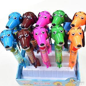 水果硬糖批发 厂家直销10克长柄雨声狗玩具糖果 大嘴狗压片糖