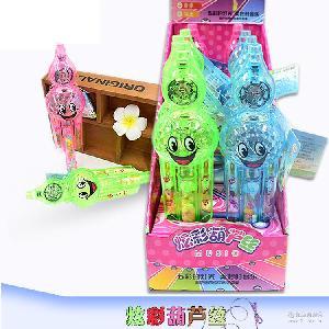 食品批发彩珠糖休闲零食 厂家直销5克灯光音乐葫芦丝学生玩具糖果