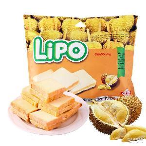 越南特产零食 LIPO榴莲味酥软牛奶面包干300g 营养早餐饼干