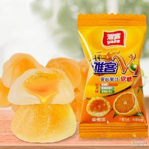 雅客 喜糖年货食品 酱心水果软糖糖果批发 500g V9果汁夹心糖