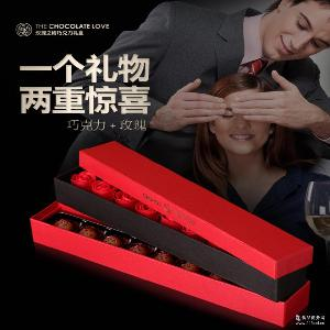 巧罗纯可可脂手工夹心巧克力礼盒+9朵玫瑰皂中秋情人节礼物零食品