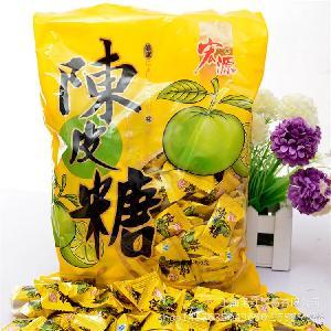 热销推荐宏源陈皮开胃糖355g/包 开胃陈皮糖 袋装糖果24包一箱