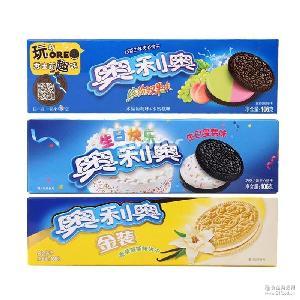 冰淇淋奥巧克力夹心饼干97g 包邮 生日味双果夏日户外*零食