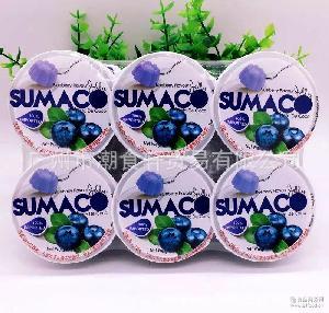 批发进口 马来西亚素玛哥SUMACO蓝莓味果冻6杯装660g 12排一箱