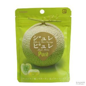 跨境/日本零食 甘乐kanro pure哈密瓜果汁酱心咀嚼弹力软糖63g