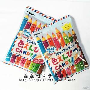 日本进口糖果 儿童糖果80g 彩色铅笔糖果 8种水果糖
