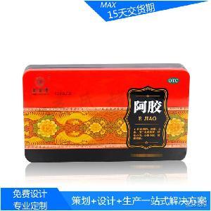 新款时尚150克装阿胶红枣糕马口铁盒 保健药品金属盒生产商