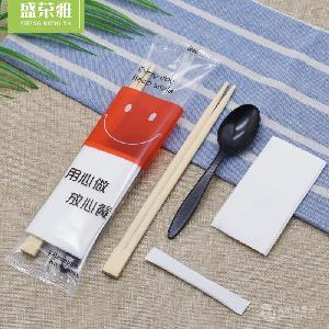 供应一次性外卖套装 一次性筷子四件套 筷子纸巾勺子牙签