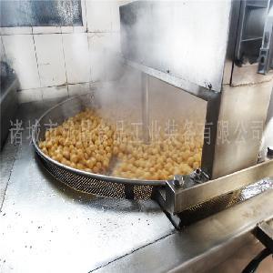 小型花生米油炸锅 带搅拌炸蚕豆机器 雪花花生米油炸机