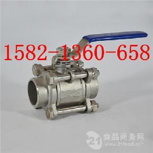 重型体304/316L不锈钢三片式焊接球阀Q61F-16P DN32