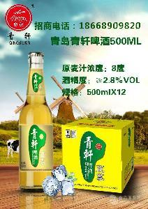 供应低价大瓶青岛青轩啤酒朝阳地区