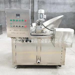 商用豆干油炸机连续式鸡米花油炸生产线自动刮渣式