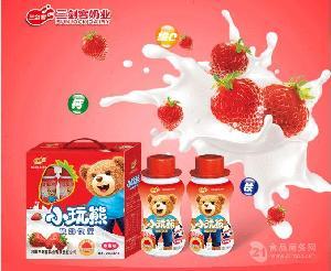 三剑客小玩熊儿童牛奶 果味乳酸菌饮料酸奶 批发免费代理加盟