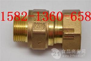 黄铜内外丝水表前活接伸缩止回阀(6分转4分)