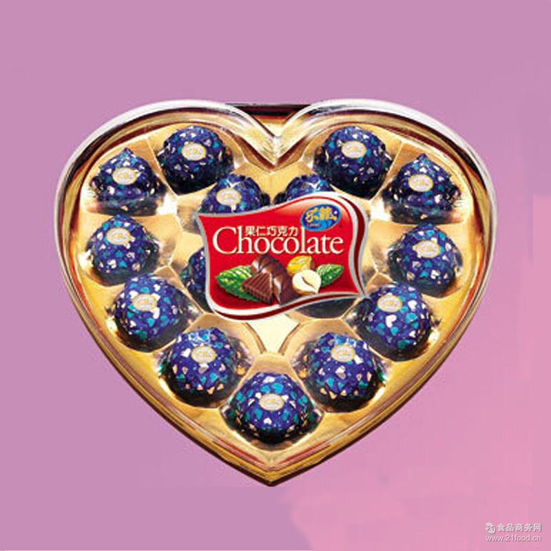 厂家直销乐菲心形果仁巧克力15粒装203g休闲装送零食婚庆喜糖批发