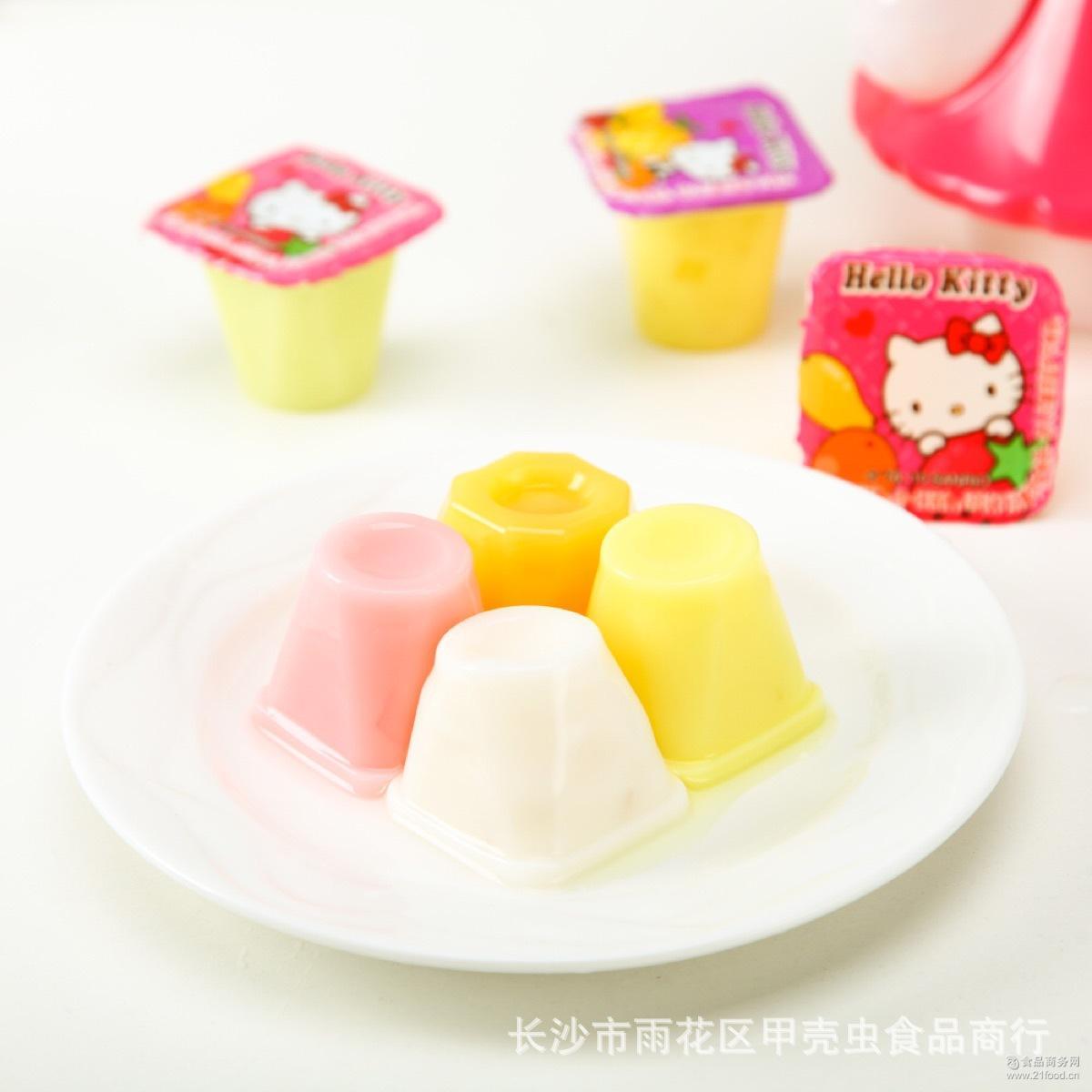 1*6桶/箱 休闲零食 儿童玩具 润谷 Hellokitty什锦果味果冻350克