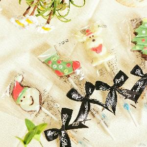 厂家直销新圣诞节巧克力棒棒糖零食糖果批发纯手工40支/盒1盒起发
