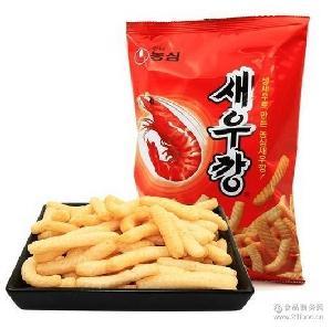 韓國進口零食休閑食品膨化食品/韓國農心鮮蝦條(辣味)一箱30包