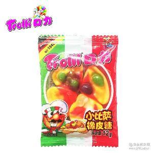 口力糖比萨12g橡皮糖儿童糖果零食软糖批发
