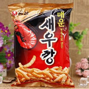 韓國進口零食品批發 農心辣味蝦條90克休閑膨化零食30袋/箱批發