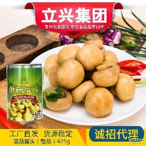 整粒新鲜蘑菇罐头425g 披萨凉拌蘑菇原料 立兴蔬菜罐头食品批发