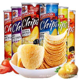 伦敦薯片160g 桶装香脆膨化小吃多口味休闲零食品 马来西亚进口