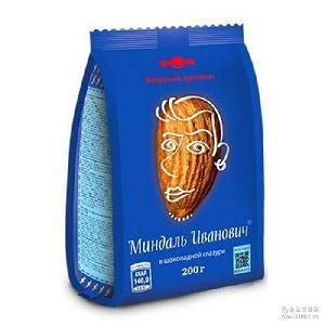 200克 俄罗斯糖果【奥焦雷-515】糖果扁桃仁浓黑巧克力豆/袋