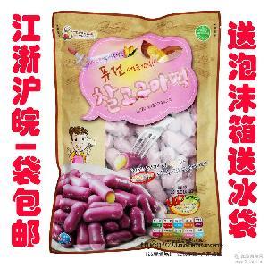 韓國原裝進口紫薯地瓜米條夾心年糕條1000g地瓜混合芯子