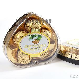 A48克五粒金色爱丽莎高档塑料盒心形礼盒果仁巧克力礼盒装批发