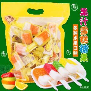 A百分享1000克果果半糖之雪糕糖果水果汁軟糖零食品批發