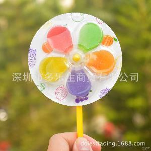 糖果乐园21g樱花风车水果软糖棒棒糖创意儿童零食20支/盒整盒批发