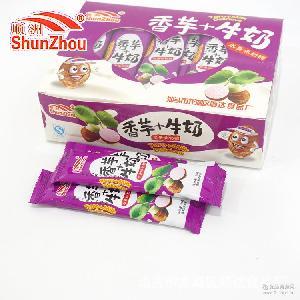 香芋+牛奶水果味奶糖厂家直销糖果一盒450克一盒30条一箱20盒