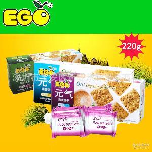 马来西亚进口食品 EGO燕麦元气消化饼 健康休闲饼干点心盒装220g