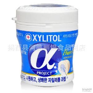 热卖休闲零食 韩国 进口食品 乐天阿尔法木糖醇口香糖86g*6罐/组