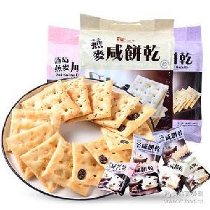 無糖 香港進口 燕麥 奇亞籽 葡萄燕麥咸餅干 400g 美味棧